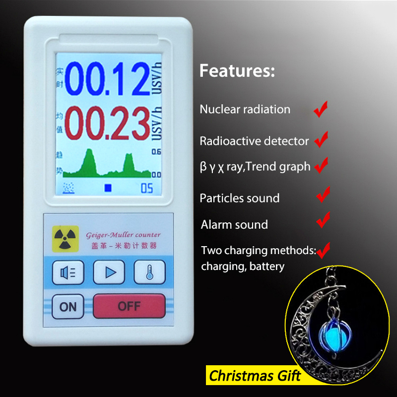 Geiger Counter Display Color Screen Nuclear Radiation Detector Personal Dosimeter X-ray Beta Gamma Detector