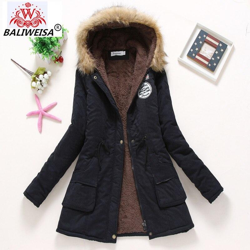 BALIWEISA Women Winter Warm Coat Female Autumn Hooded Cotton Fur Plus Size   Basic     Jacket   Outerwear Slim Long Ladies chaqueta