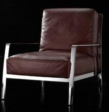 Cuero genuino / ocio / silla de sala de estar muebles para el hogar de estilo post moderno con patas de acero inoxidable marco