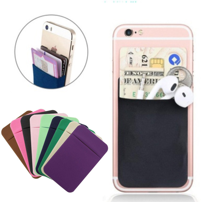 Hot Sale Portable  Elastic Mobile Phone Card Bag for Phone 9 Colors for choose