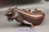 Crafts statue Lucky Chinese Folk Bronze Sculpture Zodiac Mouse Catch Wealth Money Bag Statue