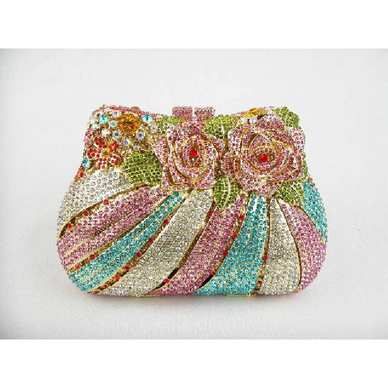 #8210 Crystal color-C ROSE Flower Floral Wedding Bridal Party Night hollow Metal Evening purse clutch bag case box handbag
