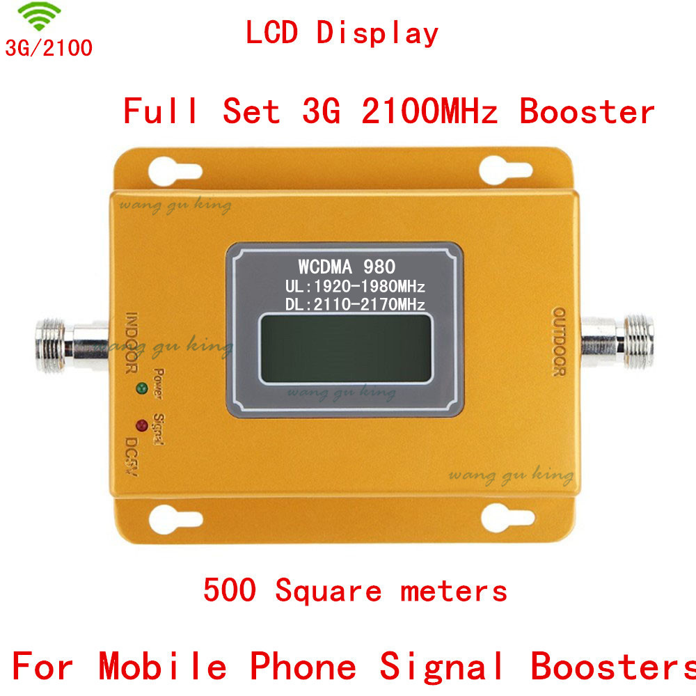 HOT LCD Display 3G W-CDMA 2100MHz Cell Phone Signal Booster 2G 3G 2100 UMTS Signal Repeater Amplifier Extender 500 Square Meters