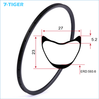 7 TIGER Carbon T700 29er Mountain Bicycle Rims Mtb Carbon Tubular Rims Cross Country Cycling Ring