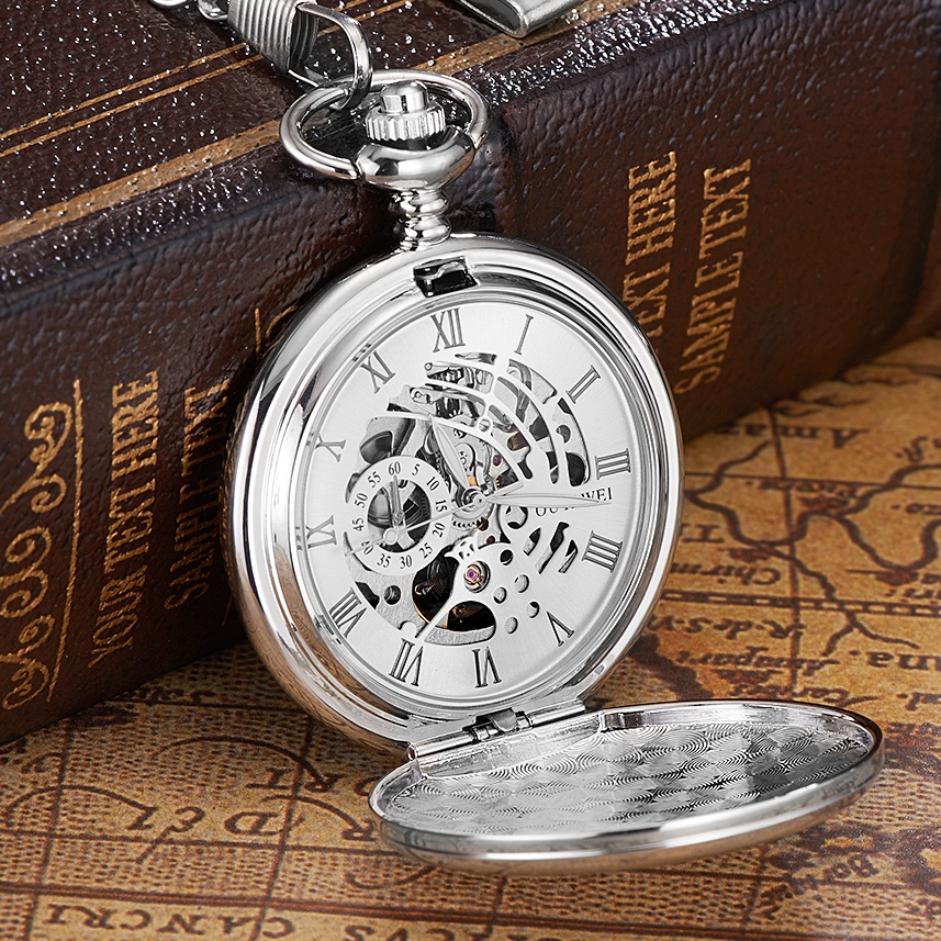 New OYW Brand Stainless Steel Men Fashion Casual Pocket Watch Skeleton dial Silver Hand Wind Mechanical Male Fob Chain Watches-in Pocket & Fob Watches from Watches