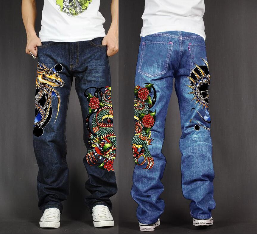 Men's Long Pants Baggy Loose Fit Jean Rap Hip Hop Skate Denim Print Trousers Straight Stretch Casual Trousers Sea Monster Dragon