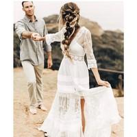 EXCOSMIC Fashion Runway женское длинное платье Летнее льняное кружевное открытое с v образным вырезом и длинным рукавом Элегантные шифоновые платья в