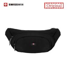 Swisswin Qualité Petit Casual Taille Pack Pour Hommes Taille Sac pour Téléphone Portable et son Portefeuille résistant à L'eau de Course Sac Noir voyage Sac