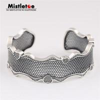 Mistletoe Authentic 925 Sterling Silver Lace of Love Bracelet Cuff, Clear CZ European Jewelry