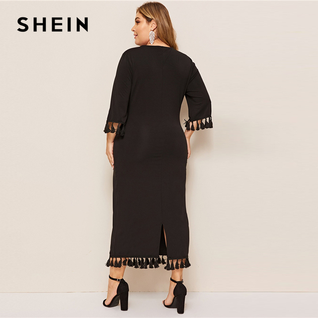 SHEIN Women Plus Size Scarf Print Buttoned Cuff Black Long Dress 2019 Ladies Spring Half Sleeve Solid Casual Dresses 3