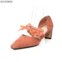 2018 wedding shoes woman 5cm thin heels women's genuine leather shoes pumps velvet mary jane size 10 11 12 black blue orange