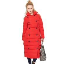 2017 Winter new arrival  Double-breasted long women down Jackets gules winter thickening Coat BY898
