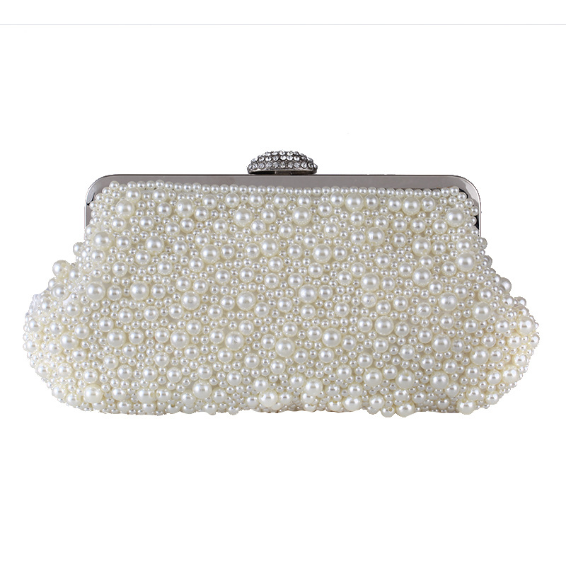 New Pearl Beading Women's Evening Party Clutch Crystal Metal Frame Female Flap Handbag Hasp Shell Bag Metal Handle White Beige new fashion women s evening party clutch handbag elegant pearl beading crystal flap fit dress shoulder bag black white champagne