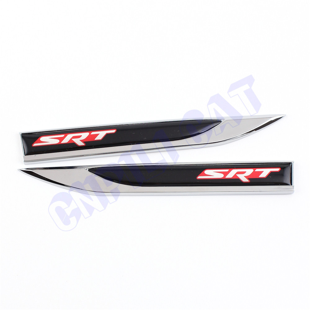 2pcs srt logo car body side fender knife emblem stickers for dodge charger challenger viper etc