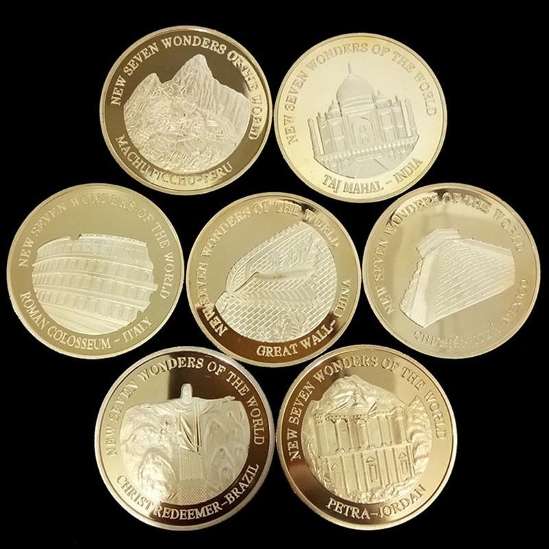 Позолоченная памятная медальон из Seven Wonders, коллекционная художественная монета, подарок, металлическая монета Lucky Coin 2007