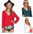 Blusas Femin201inas 6 Fashion Women's Colourful V Neck Summer Chiffon Blouses Shirt Cute Long Sleeve Shirts Casual Top Big size