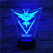 Pokemon Go Team Instinct Baby Night Lamp LED Color Changing Bedside Atmosphere Novelty Lamps Gift Usb Light Child