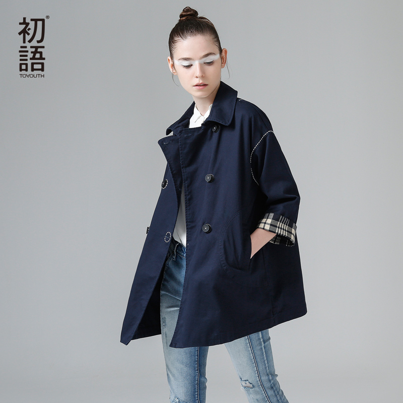 Toyouth Loose Casual Trench Coat Women Turn Down Collar Outerwear Coats Double Breasted Streetwear Trench Outwear