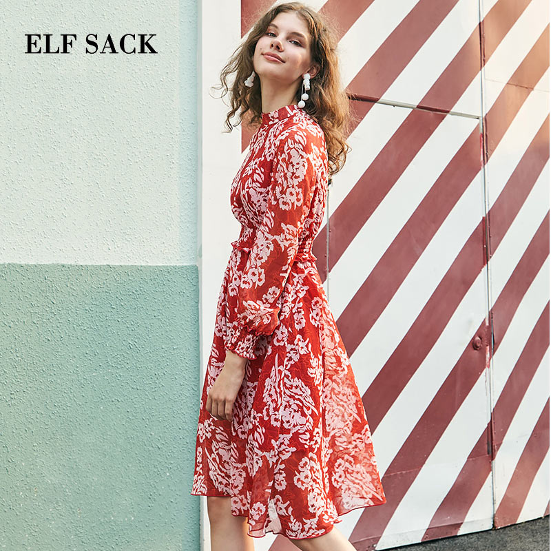 ELF SACK Autumn New Stylish Chiffon Dress Women Floral Red Long Sleeve Party Elegant Dresses Female