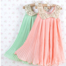 Hot sale! 2016 Summer Girls Pleated Chiffon One-Piece Dress With Paillette Collar Children Colthes For Kids Baby, Pink/Green