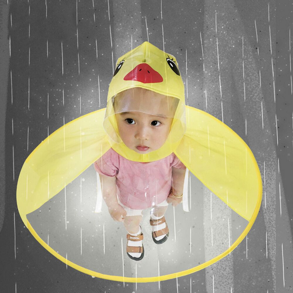 e7d7541600367 Cute Raincoat Cartoon duck Kids Rain Coat UFO Children Umbrella Hat Magical  Hands Free Tops Boys