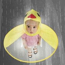 Милый дождевик, детский дождевик с мультяшной уткой, Детская шапка зонтик в виде НЛО, волшебные Топы без рук для мальчиков и девочек, ветрозащитное пончо для малышей