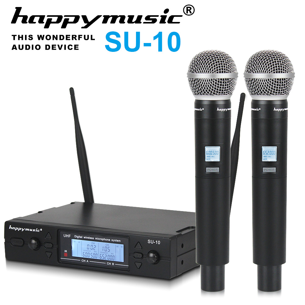 New High Quality UHF Professional SU 10 Dual Wireless Microphone System stage performances a two wireless microphone-in Microphones from Consumer Electronics