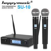 New High Quality UHF Professional SU 10 Dual Wireless Microphone System stage performances a two wireless microphone