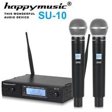 SU 10 profesional UHF de alta calidad, sistema Dual con micrófono inalámbrico para actuaciones en escenario, dos micrófonos inalámbricos