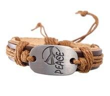 Moda handmade woven amor letras da paz mundial charme cinto genuína cinto de couro wrap Braceletsjewelry do vintage dos homens das mulheres
