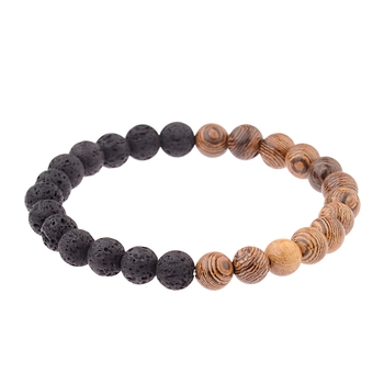 Elastic Natural Wood Beads Bracelet Bracelets Jewelry New Arrivals Women Jewelry Metal Color: 005-B2