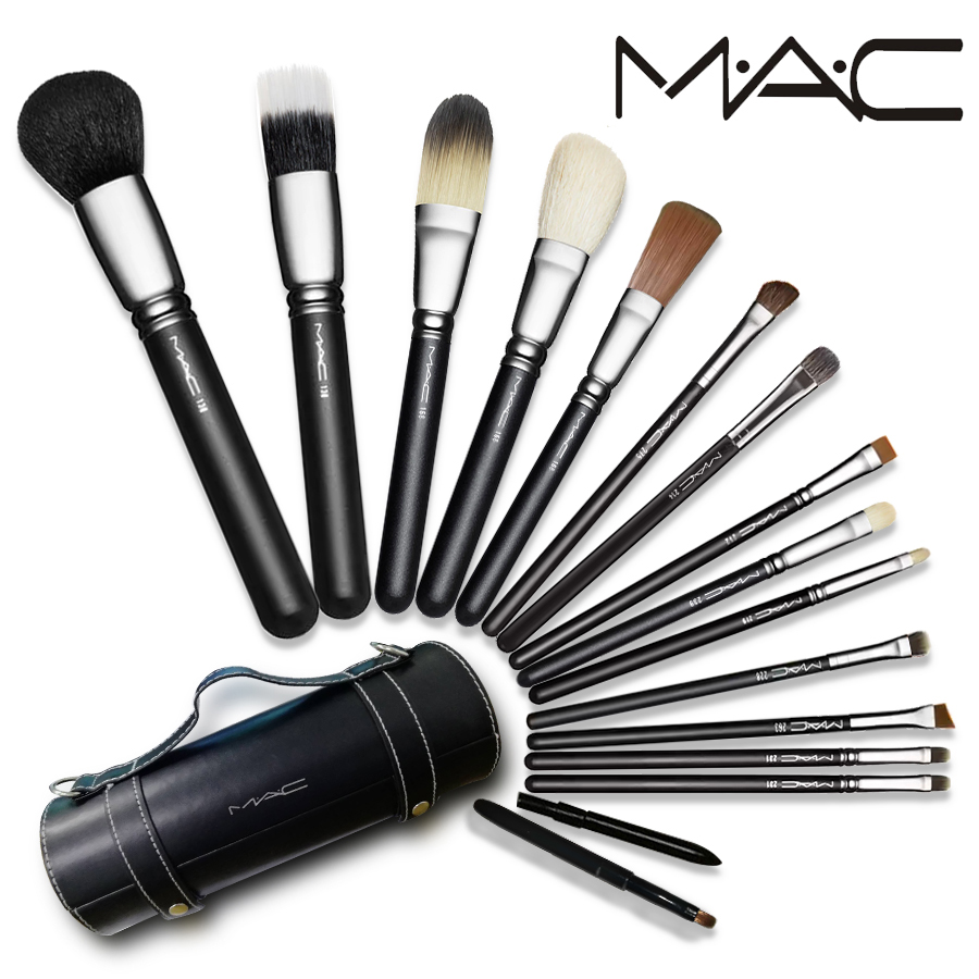 MAC Makeup Brushes 16 Pieces Makeup Brush Set Face Eyeliner Blush Contour Foundation Cosmetic Brushes With Cylinder Box ...