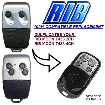 RIB SUN T433-2CH,T433-4CH,RIB MOON T433-2CH T433-4CH,433-1, 433-2, Remote Duplicator Replacement 433.92MHz Fixed Code Key Fobs