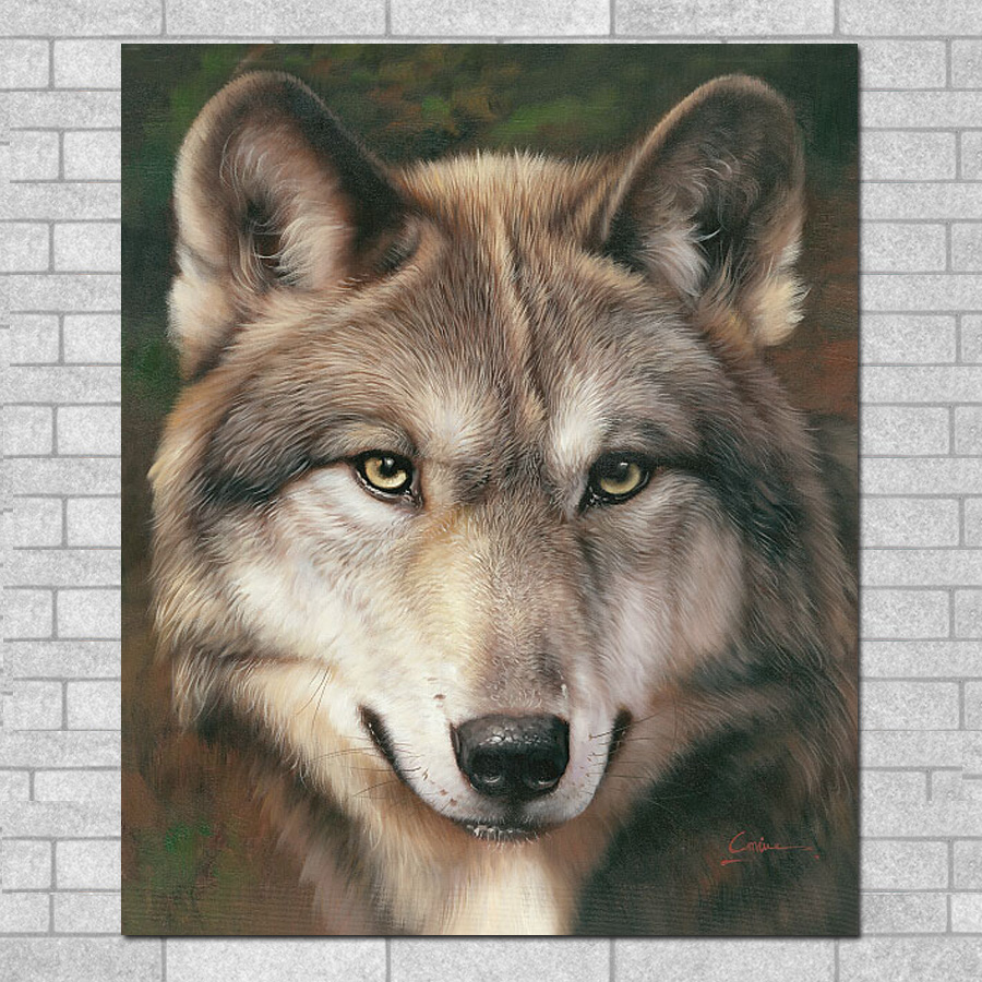 ᑐHigh Definition Canvas Painting Animals Wolf Oil Painting Art - Painting definition