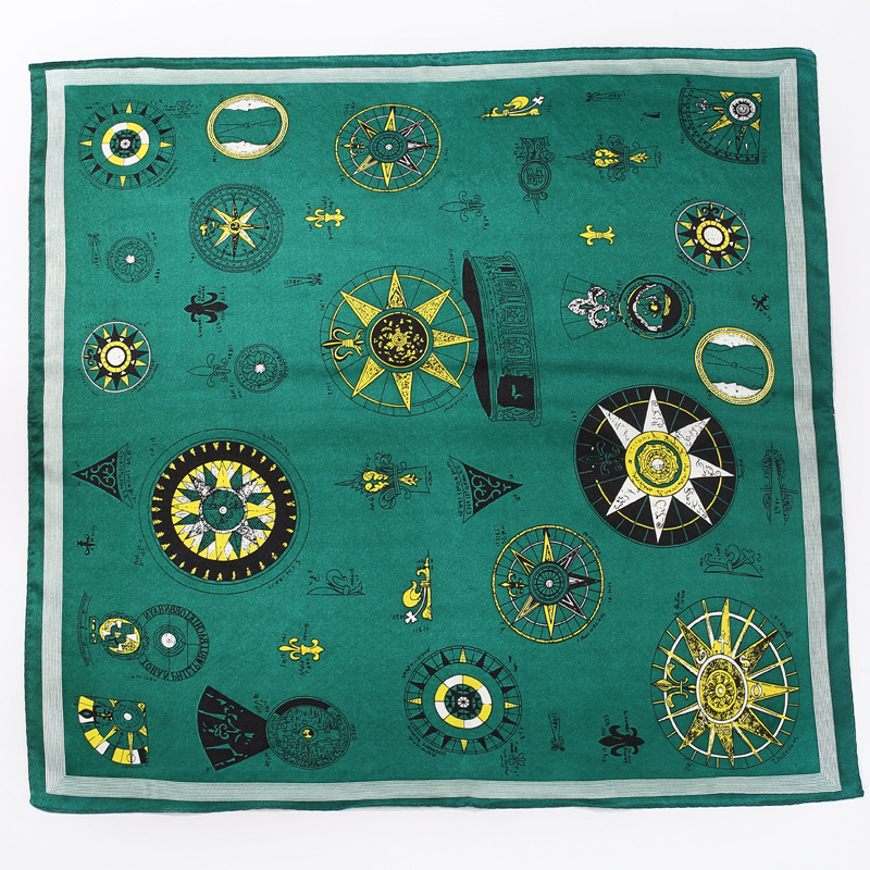 Women's 2019 Four Seasons Explosion Models Hot Tarot Pattern Printing 52*52cm Tied Silk Decorative Square Scarf