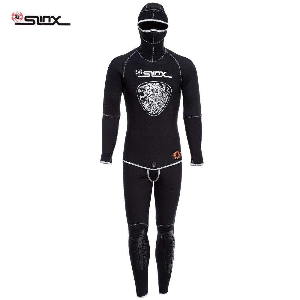 SLINX 1301 Men 5MM Full Body Diving Suit Two-piece Wetsuit Diving Suit Long Sleeve Warmth Sunblock Wetsuit with Headgear mylegend men 3mm diving suit long wetsuit diving suit sleeve full body sunblock wetsuit for underwater sport wetsuit