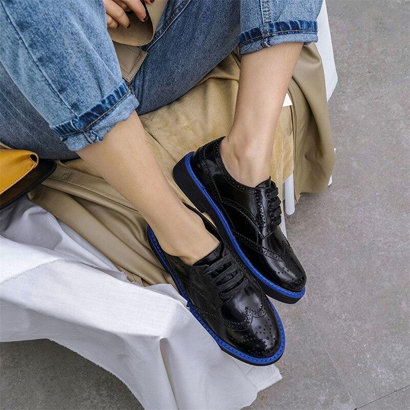 Sexy New Fedonas Autunno Brogue in pelle Black Bowtie Retro Basic pumps Fashion Shoes 1 Nastri Women Primavera 2 Ladies vera Woman OXqng75q