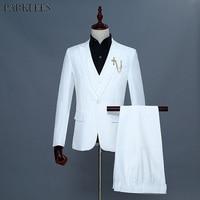 Fashion 3 Piece Suit (Jacket+Vest+Pants) Men 2018 Brand New White Wedding Groom Suit Men Slim Fit Tuxedo Suits Costume Homme XXL