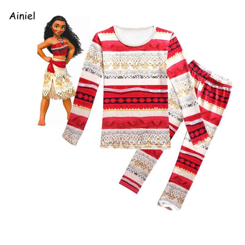 Ainiel  Moana Pajamas Girls Kids Children Spring Autumn Cartoon Sleepwear Top Pant Set Nightgown Holloween Christmas Costume