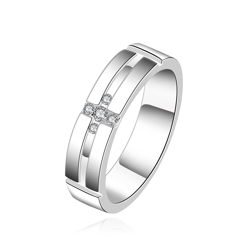 2017 Silver Plated 925 rings For Women cross thick with white stones crystal wedding ring men jewelry Finger Rings vintage bague