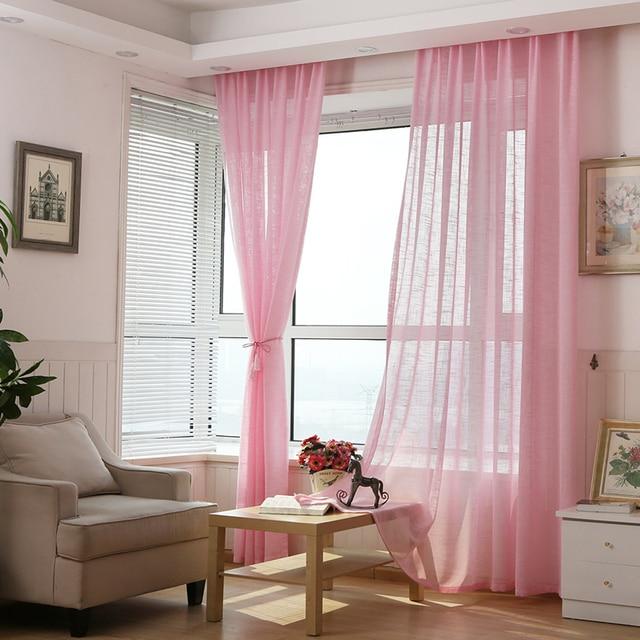 Moderne Rosa Tüll Vorhänge Translucent Vorhänge Wohnzimmer