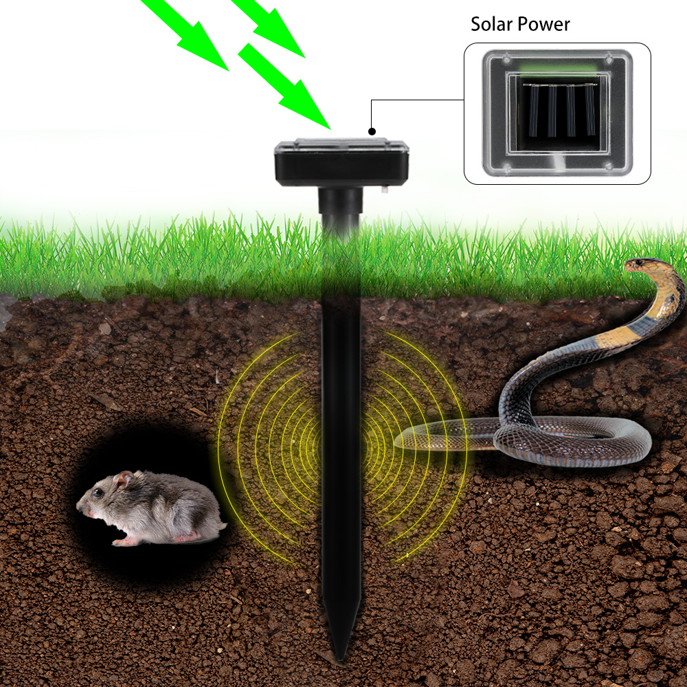 2 pz Solar Powered Onda Sonora di Sonic Repeller Esterna del Giardino Farm Mouse Gopher Ratto Vole Mole Scarer Serpente Roditore pest Reject