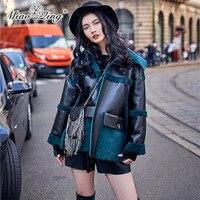 MIAOQING 2018 Для женщин два боковых уличная зимние теплые куртки Пальто Harajuku пиджаки меха Лоскутная PU кожаная ветровка одежда