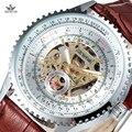 SEWOR Homens Retro Militar Esqueleto Homens Relógio Pulseira de Couro Masculino Relógio Auto Vento Automático Relógios Mecânicos Dos Homens de Negócios