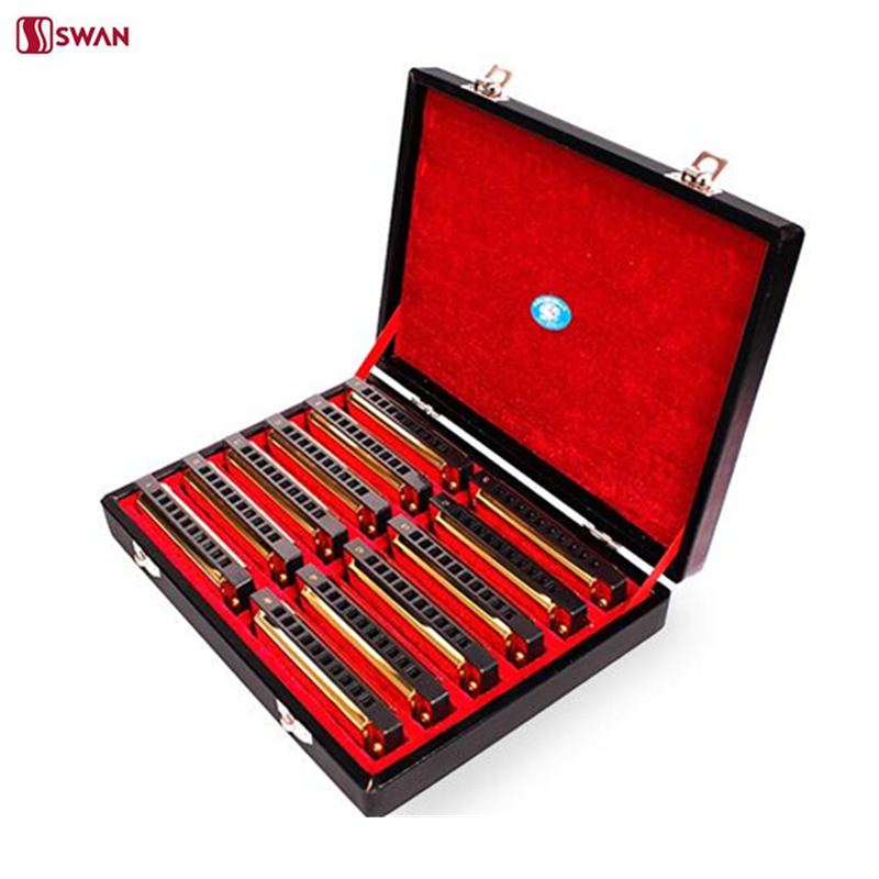Swan 10 Hole 20 Tone Harmonica Senior Diatonic Blues Harp A/B/C/D/E/F/G/A#/C#/D#/F#/G# Key Mouth Organ Golden With Gift Box 7pcs set swan 10 hole 20 tone harmonica senior diatonic blues harp 7 tune set mouth organ sliver color with gift box gaita