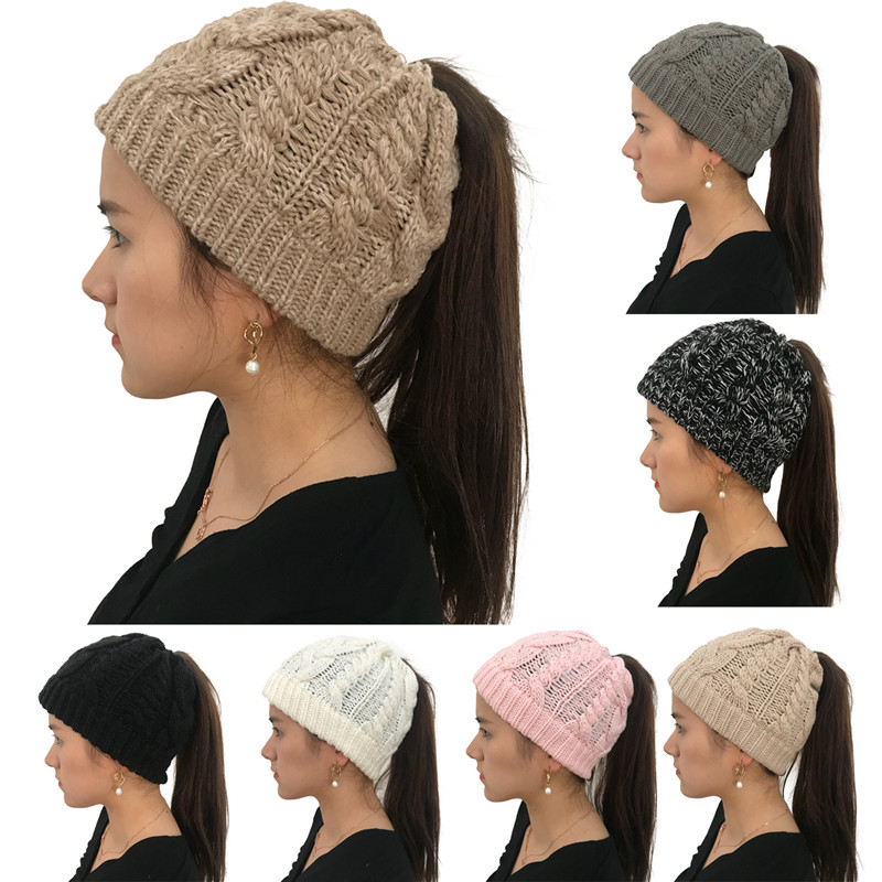 2018 Stylish Ponytail   Beanie   Winter Hats For Women Crochet Knit Caps   Skullies     Beanies   Warm Cap Female Fashion Knitted Hat Ladies