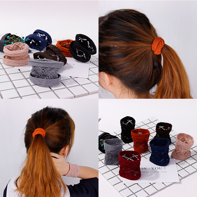 Women Width Hollow Solid Elastic Hair Band Ponytail Holder Rubber