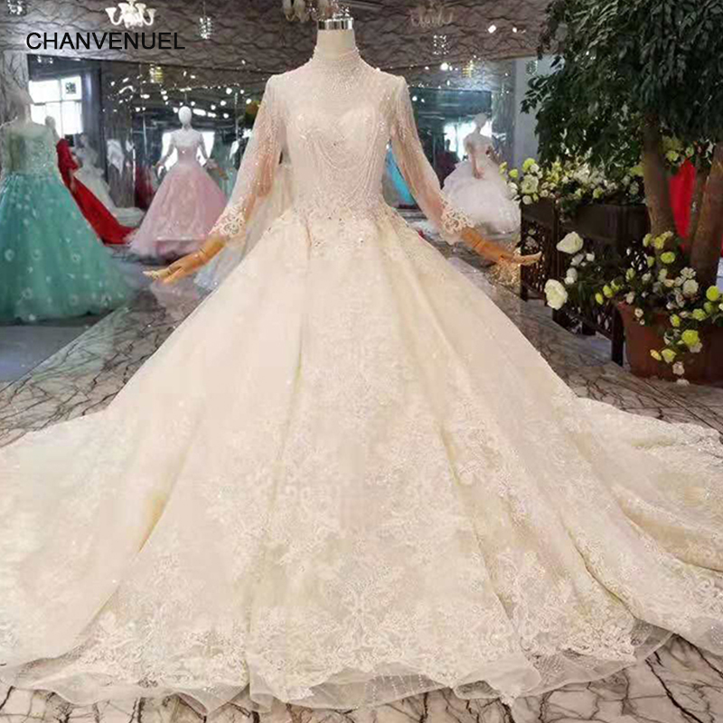 LSS275 new design wedding dresses tulle high neckline long sleeves wedding gown with royal flowers train china factory wholesale