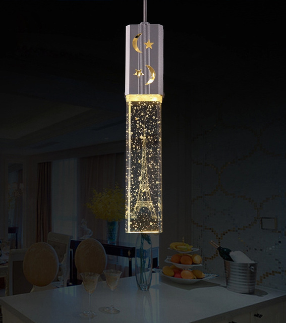 Modern Crystal Chandelier Dinning Room Lighting With 5W LED Lamp Eiffel  Tower Light Single Lampshade Free