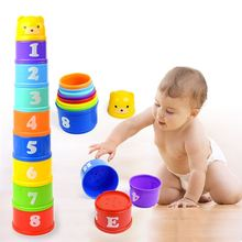 цены Baby Stacking Cups Toy Children 24 months Learning Tower Stacking Cups Characters And Numbers Education Nesting & Stacking Toys